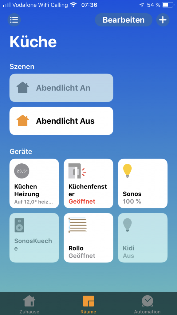 Darstellung der Raumübersicht in der Apple Home App