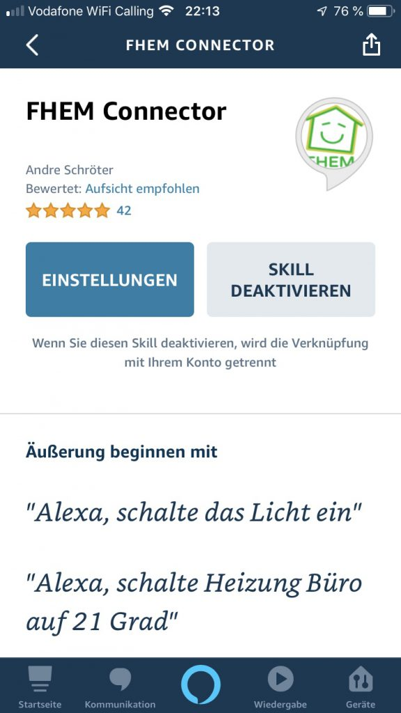 Alexa Skill FHEM Connector Bewertung