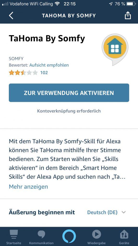 Alexa Skill Tahoma by Somfy Bewertung
