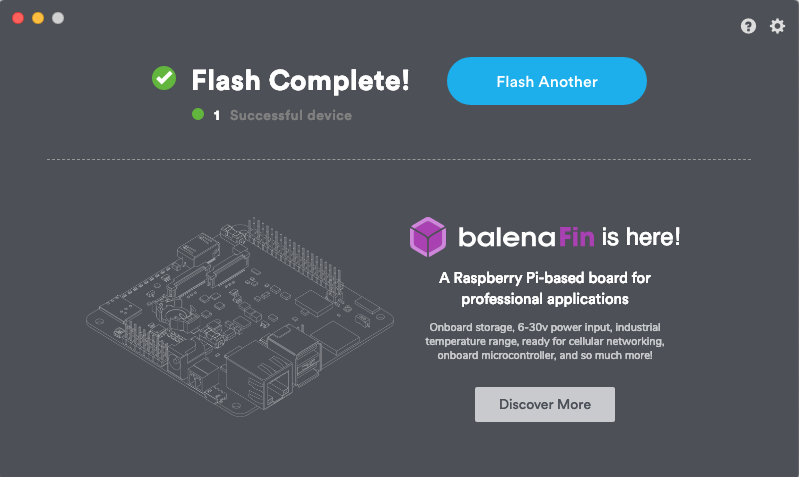 Etcher Flash complete Dialog