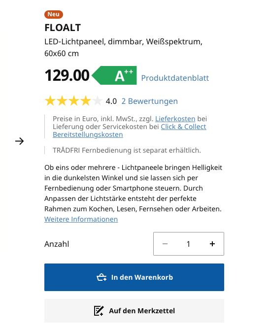 Preis und Produktinformationen IKEA Floalt LED Paneel