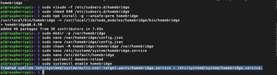 Automatischer Homebridge Homebridge Systemstart eingerichtet.