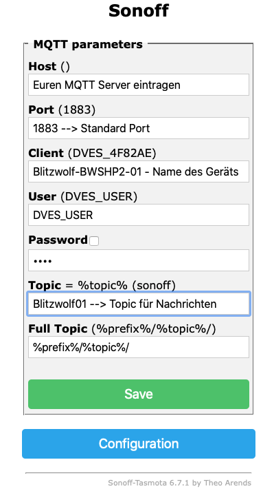 Konfiguration des MQTT Servers innerhalb der Tasmota Firmware per Browser