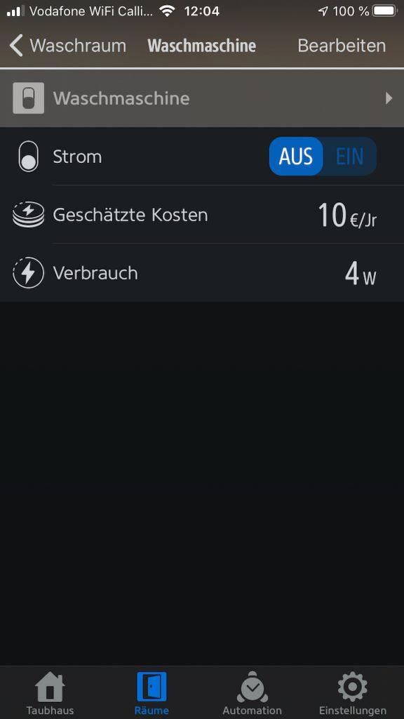 Anzeige des Stromverbrauchs in der iOS Eve App