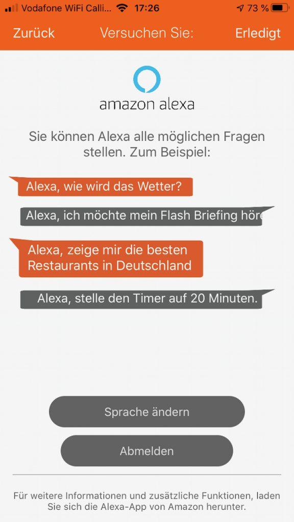 Gigaset Alexa Menü ohne weitere Einstellungsmöglichkeiten.