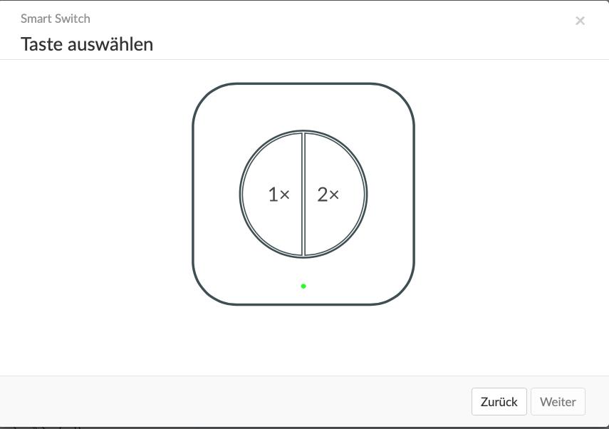 Tastenbelegung links und rechts des Mini Wireless Switch von Aqara