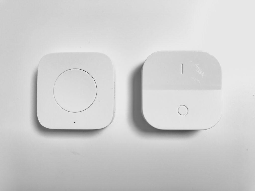 Größenvergleich Aqara Button mit IKEA Dimmer