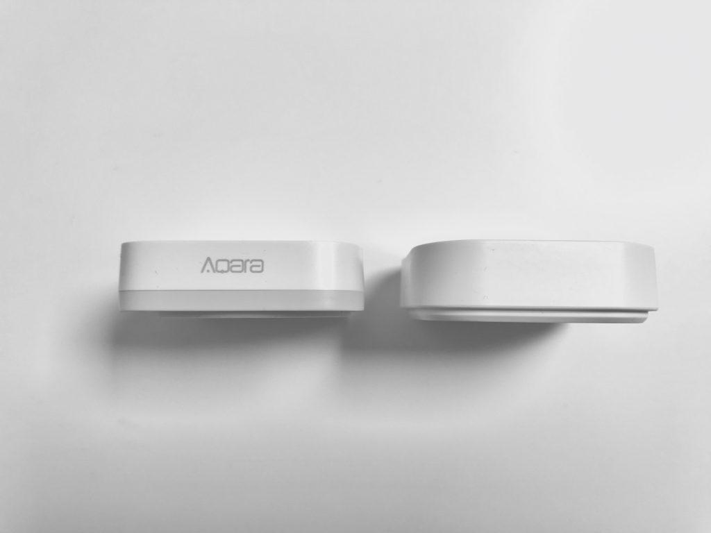 Vergleich der Tiefe des Aqara Buttons mit IKEA Dimmer