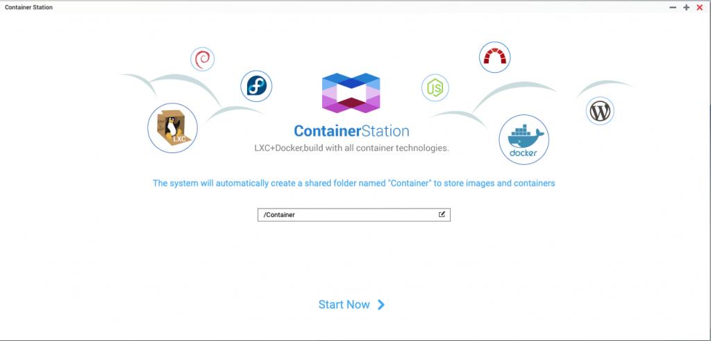 Startbildschirm der App QNAP Container Station