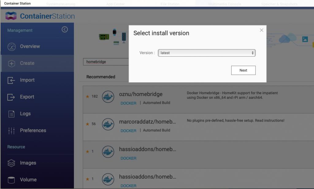 Auswahl der Docker Image Version