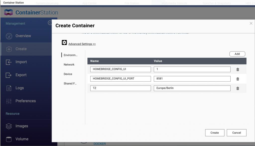 Container Einstellungen für homebridge Web UI