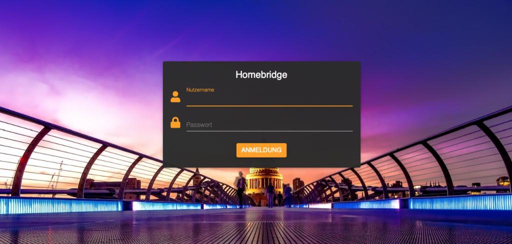 Startseite der homebridge per Web Zugriff