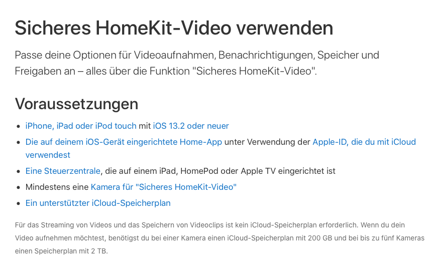 Einschränkung hinsichtlich der Speicherung von Videos bei Apple über die Home App.