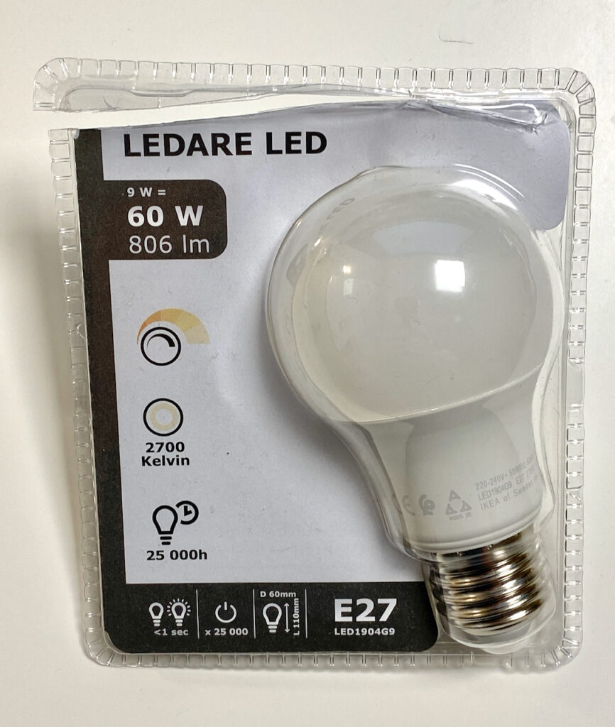 IKEA LED Leuchtmittel mit einer Leistung von 9 Watt