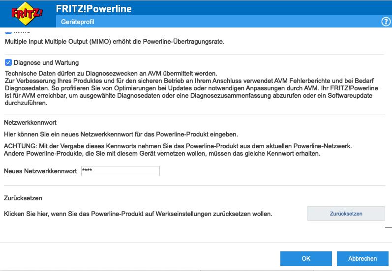Kontextmenü der Fritz Powerline App für an einem Adapter.
