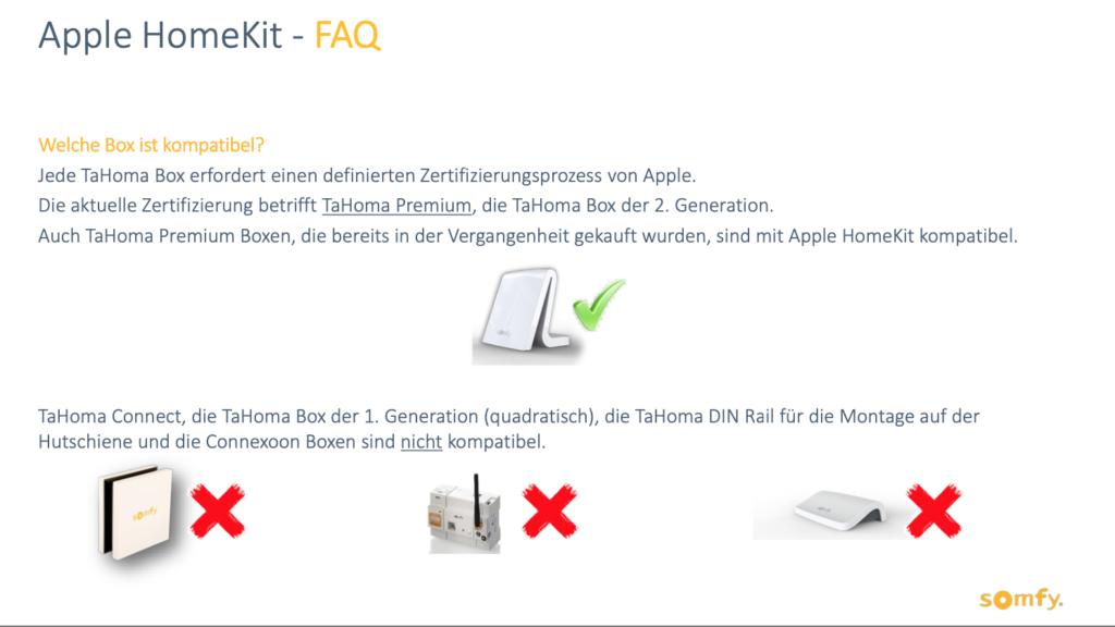 Übersicht welche Somfy Geräte das Homekit Update erhalten.