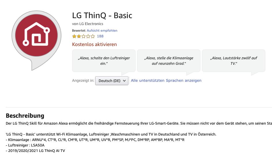 LG ThinQ Basic Alexa Skill