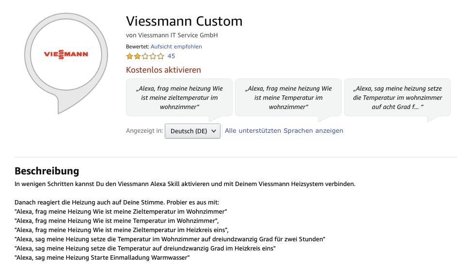 Bewertung des Viessmann Custom Skil für Alexa