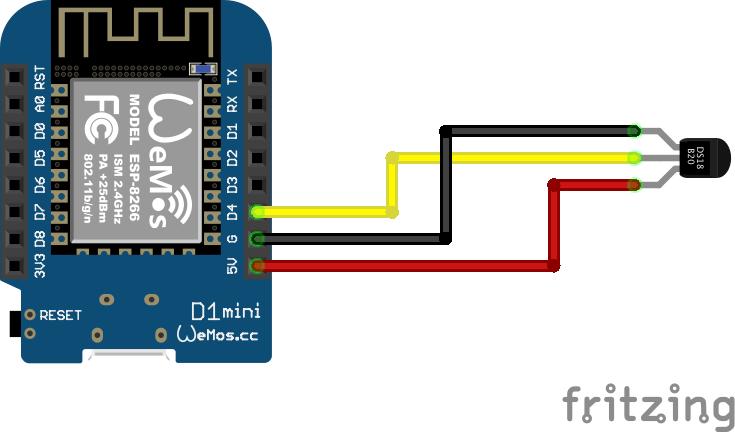 Verbindung des D1 min mit DS18B20