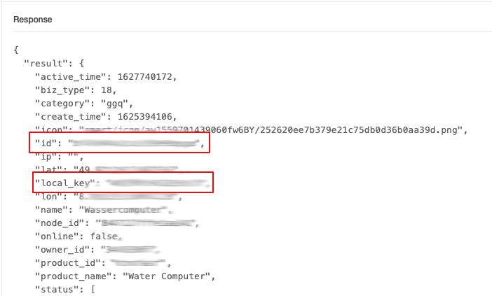 Ergebnis des tuya API Explorer zu einem bestimmten Gerät